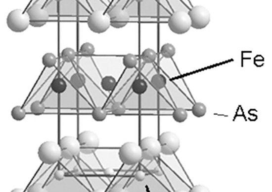 Rys. 6. Struktura krystalograficzna wysokotemperaturowego nadprzewodnika na bazie żelaza LaFeAsO wykazującego temperaturę krytyczną do 56 K (na podstawie Internetu)