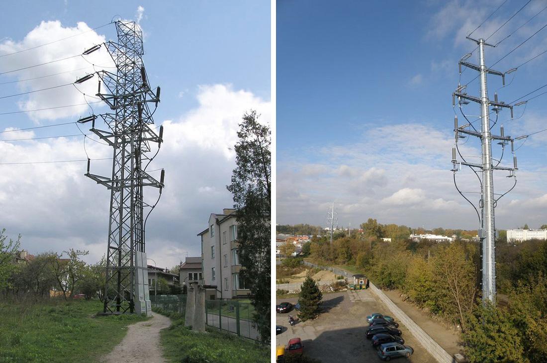Fot. 1. Słupy kablowe 110 kV – różne rozwiązania techniczne: słup kratownicowy i słup rurowy.
