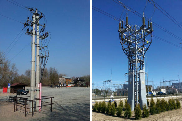 Fot. 2 Przykłady sposobów ograniczenia dostępu do słupów kablowych w miejscach ogólnie dostępnych dla ludności (po lewej stronie słup linii 110 kV, po prawej słup linii średniego napięcia)