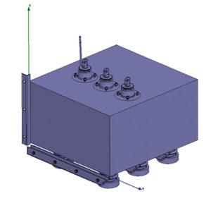 Rys. 2. Przedział uziemnika (osłona i urządzenia); części pozostające pod napięciem zaznaczono kolorem amarantowym