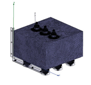 Rys.3. Approksymacja przedziału uziemnika elementami skończonymi (obudowa i urządzenia)