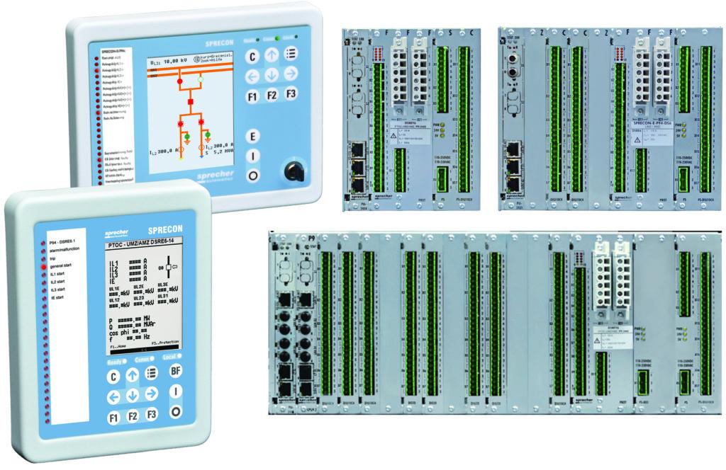 Rys. 2. Dostępne rodzaje kaset i paneli sterowniczych zabezpieczenia SPRECON-E-P DS