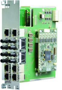 Rys. 3. Nowy moduł komunikacyjny realizujący komunikację w protokołach PRP i HSR (porty światłowodowe i elektryczne)