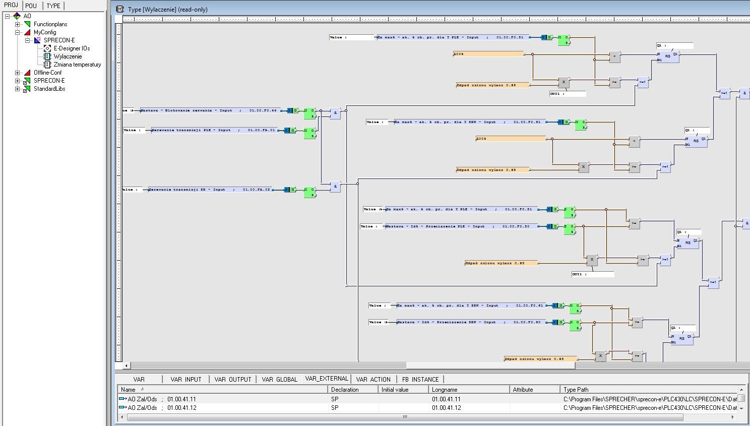 Rys. 4. Przykładowy ekran z edytorem PLC