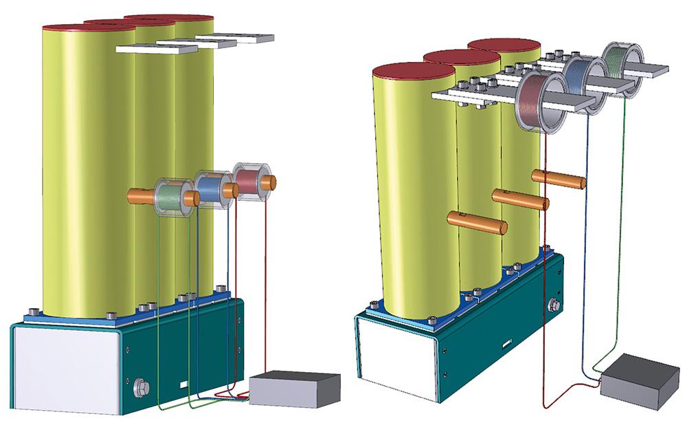 Rys. 11. Schemat ideowy pomiaru prądu w torze wyłącznika 7,2 kV/25 kA za pomocą magnetooptycznego czujnika światłowodowego.