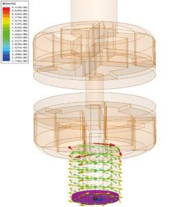 Rys. 7. Wynik analizy numerycznej rozkładu pola magnetycznego w układzie stykowym unipolarnym wyłącznika.