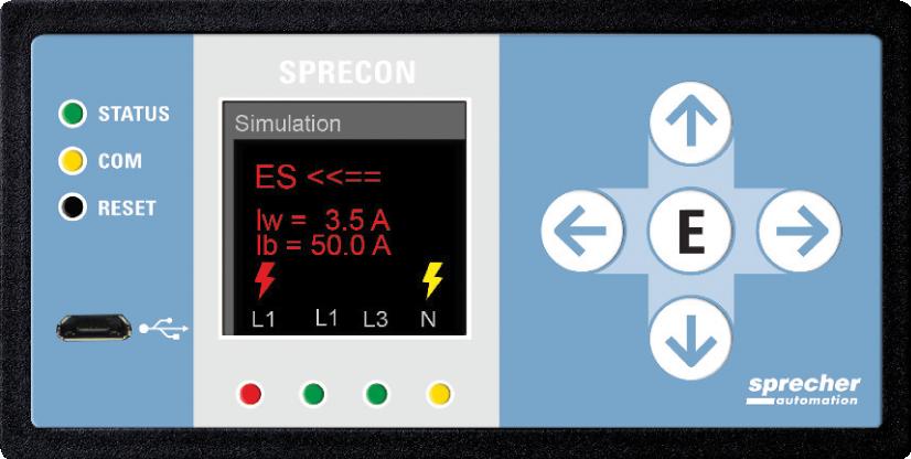 Rys.1. SPRECON-E-EDIR jako samodzielne urządzenie w standardowej obudowie z panelem sterowania, zg. z IEC 61554 (S x W x G = 96 x 48 x 85 mm)