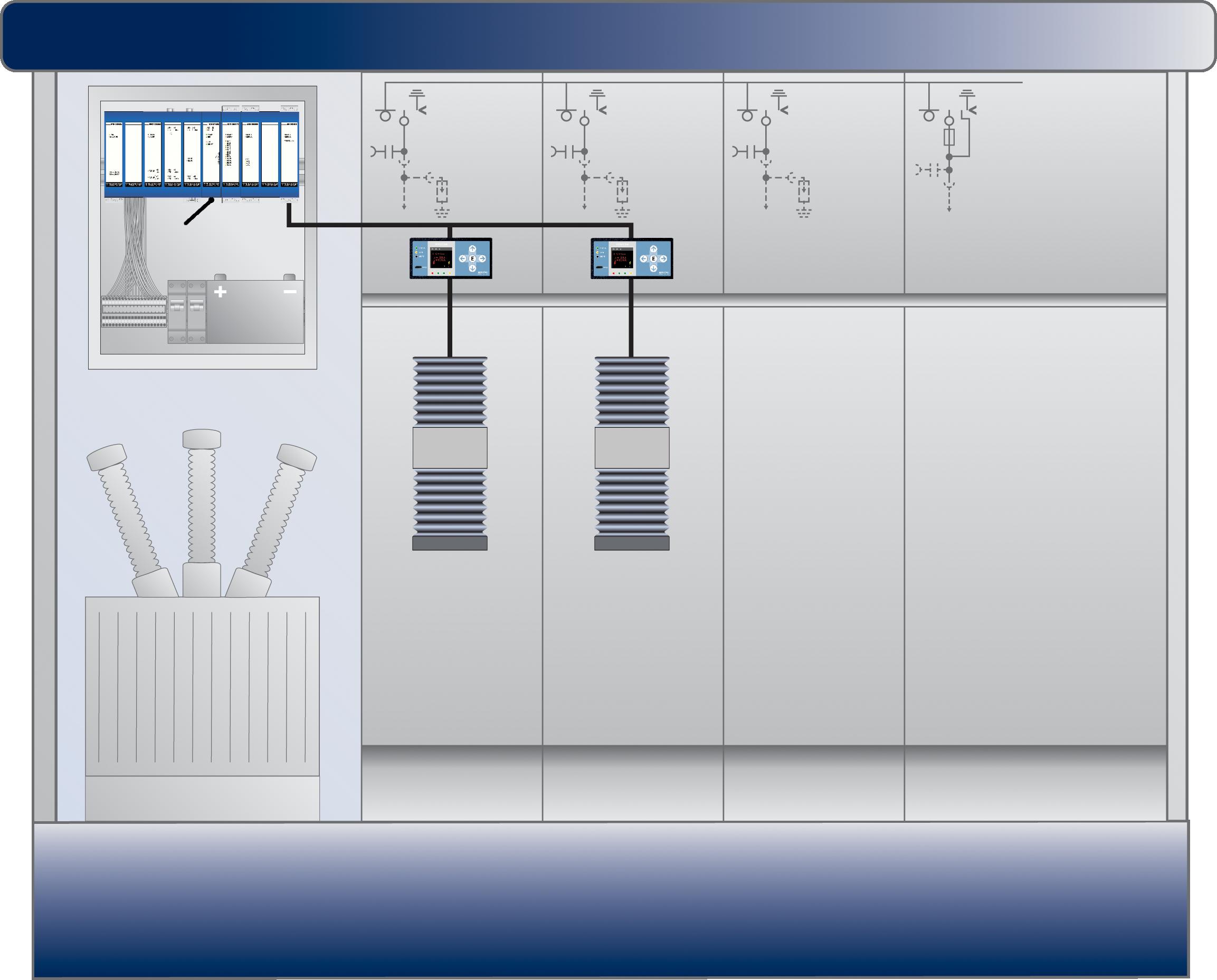 Rys. 2. Inteligentna stacja rozdzielcza z automatyką SPRECON-E-T3 i kierunkową sygnalizacją zwarć SPRECON-E-EDIR